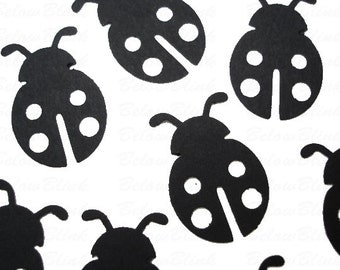 25 Black Ladybug Confetti, 1st Birthday Party Supplies - No281