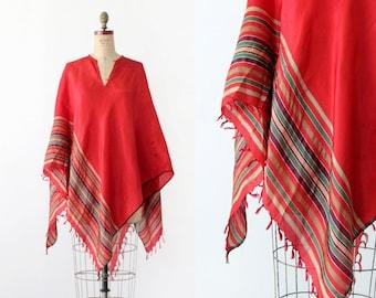 FREE SHIP  1970s red poncho, vintage metallic striped blouse