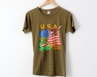 vintage USA army t-shirt, 80s small olive green tee