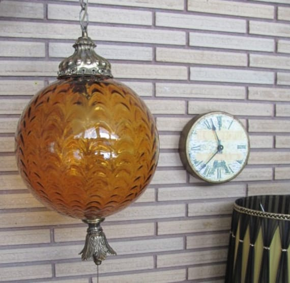 Mid Century Swag Lamp: Vintage Mid Century Swag Lamp With Extra Large Amber Glass