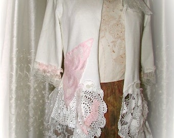 Shabby White Sweater - crocheted doilies and lace embellished in a shabby and chic style, altered romantic victorian, cotton sweater MEDIUM