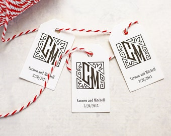 Couple's Monogram Tag - Wedding Favor Tag, Gift Tag, Bride and Groom Initials Wedding Tag - Set of 25 (SMGT - MM)