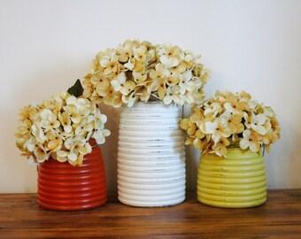 Painted Honey Pot jars, flower vase, Wedding decor, summer home decor, wedding centerpiece, table decor, summer decor, home decor