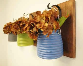 Pick Your Colors Honey Pot Wall Decor, mounted to wood base with wrought iron hooks, rustic decor, painted jars, farmhouse decor