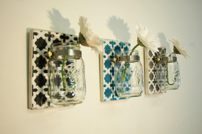 Stenciled Moroccan Design Wall Decor Trio by PineknobsAndCrickets