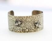 Bee Flower Bracelet,best firend Bracelet,Silver Leaf Jewelry,Fall Leaf Jewelry,Summer,Bride,Wedding.