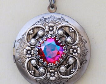Siam Glacier Red Blue Locket, Silver Locket,Jewelry,Necklace, Birthstone Locket, Rhinestone Locket,Flower,Wedding Necklace,bridesmaid