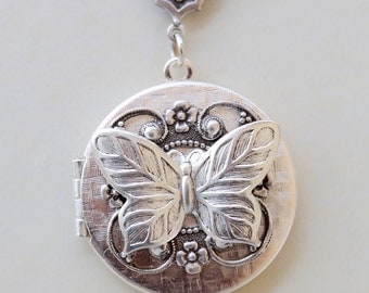 Butterfly Locket,Jewelry Gift Pendant,I love you to the moon,Mermaid,Silver Locket,Goddess,Locket Necklace,Wedding Necklace
