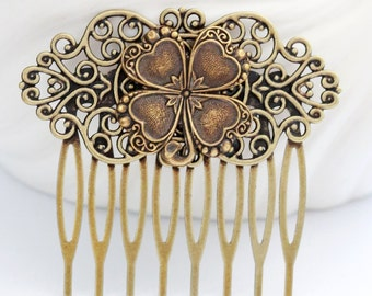 Four Leaf Clover Brass Hair Comb, Wedding Bridal Hair Comb.Flowers Collage Hair Comb, Jewelry Gift Irish Shamrock Bridal Bridesmaid