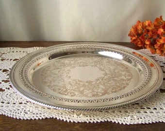 Vintage Serving Tray Silver Plate Wm Rogers Pattern 170 Plater Reticulated Border Serving Plate 1970s