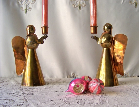 Vintage Angel Candle Holders Copper Brass Holiday Lighting