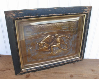 Vintage Copper Relief  Matador Bullfighting  - Spanish Bullfighting Scene