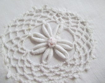 Vintage Pillowcase Great for Cutter Craft Into Throw Pillow Crochet Lace Flowers Handmade Lace Trim A107