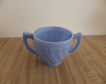 Jeanette Glass Delphite Swirl Creamer blue milk glass