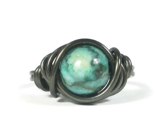 Green Jasper ring - Wire Wrapped Jewelry - Gunmetal Rings