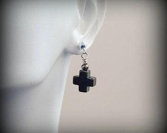 Hematite Semi Precious Gemstone Cross Earrings