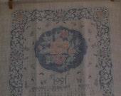 Vintage Dish Towel Calendar Towel 1991 Blue Floral
