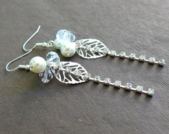 Pearls and Rhinestones Silver Leaf Earrings