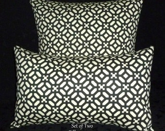 Decorative Pillows, Accent Pillows,Throw Pillows, Pillow Covers - One 18x18 Inch and One 12x18 Lumbar - Black and Ivory