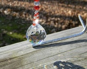 Crystal Clear Suncatcher 30mm Ball with Red, White Swarovski Bicones Hanging Window Crystal Prism, Window Suncatcher - SC332
