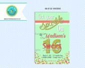 Sparkle Party Invitation Birthday Printable, Sweet 16  Sixteen, Gold glitter, Mint, Coral