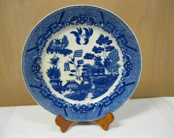 Collectible WWII Era Blue Willow China Plate Marked JAPAN Heavy Duty China Collectible Vintage Love Story Pattern Design 1940's WWII Era