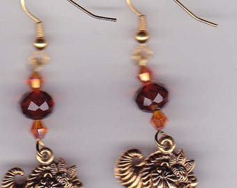 Thanksgiving Earrings-Cornucopias-Gold Tone - Swarovski Beads