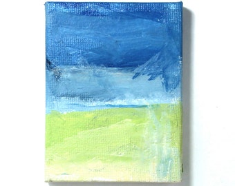 landscape painting- abstract wall art- green blue abstract- fields and sky- impression in paint- acryl painting