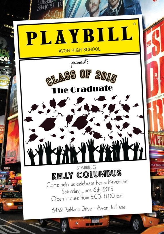 playbill style graduation invitation theater broadway ny