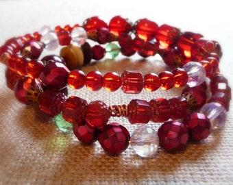 Red Bangle Bracelets, Set of 3, Three Copper Bracelets Set, L/XL, Boho Bangle Bracelets, Stacking Bangle Bracelet Set, Chunky Red Bracelets