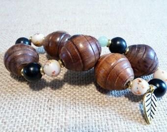 Chunky Wood Stretch Bracelet, Boho Wood Bracelet, Big Wood Beads, Wood and Stone Jewelry, Elastic Stretch Bracelet, One Size Bracelet