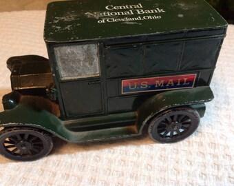 Vintage Aluminum Die Cast Bank, Mail Truck