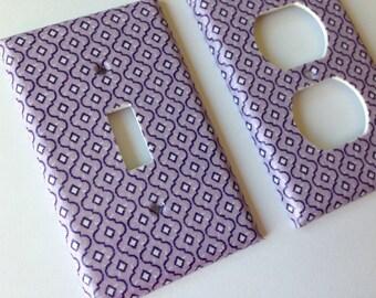 Purple Single Light Switch Plate Cover/ Moroccan Decor/ Trellis Decor/ Lavender Nursery Decor/ Purple Decor/ Lavender Home Decor / Baby Gift