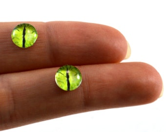 8mm Lime Green Dragon Glass Eye Cabochons - Taxidermy Eyes for Doll or Jewelry Making - Set of 2