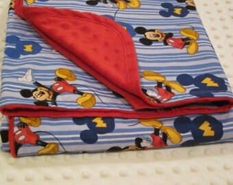 Mickey Mouse inspired minky lined blanket 28 x 34 - or 34 x 45  Baby / Toddler // choose minky color