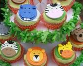 Fondant Jungle Animal Cupcake Toppers,  Safari Cupcake Toppers, Zoo Cupcake Toppers, Noah's Ark Cupcake Toppers, Wild Animal Cupcake Toppers