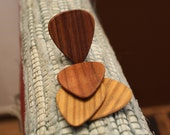 4 wood guitar picks. Rosewood & Lignum Vitae  wooden guitar picks