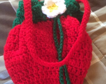 Strawberry Purse Bag Hand Crocheted