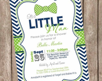 Navy and lime green baby shower invitation, boy baby shower invitation, lime and navy, chevron, preppy, bow tie, chevron baby shower lm4