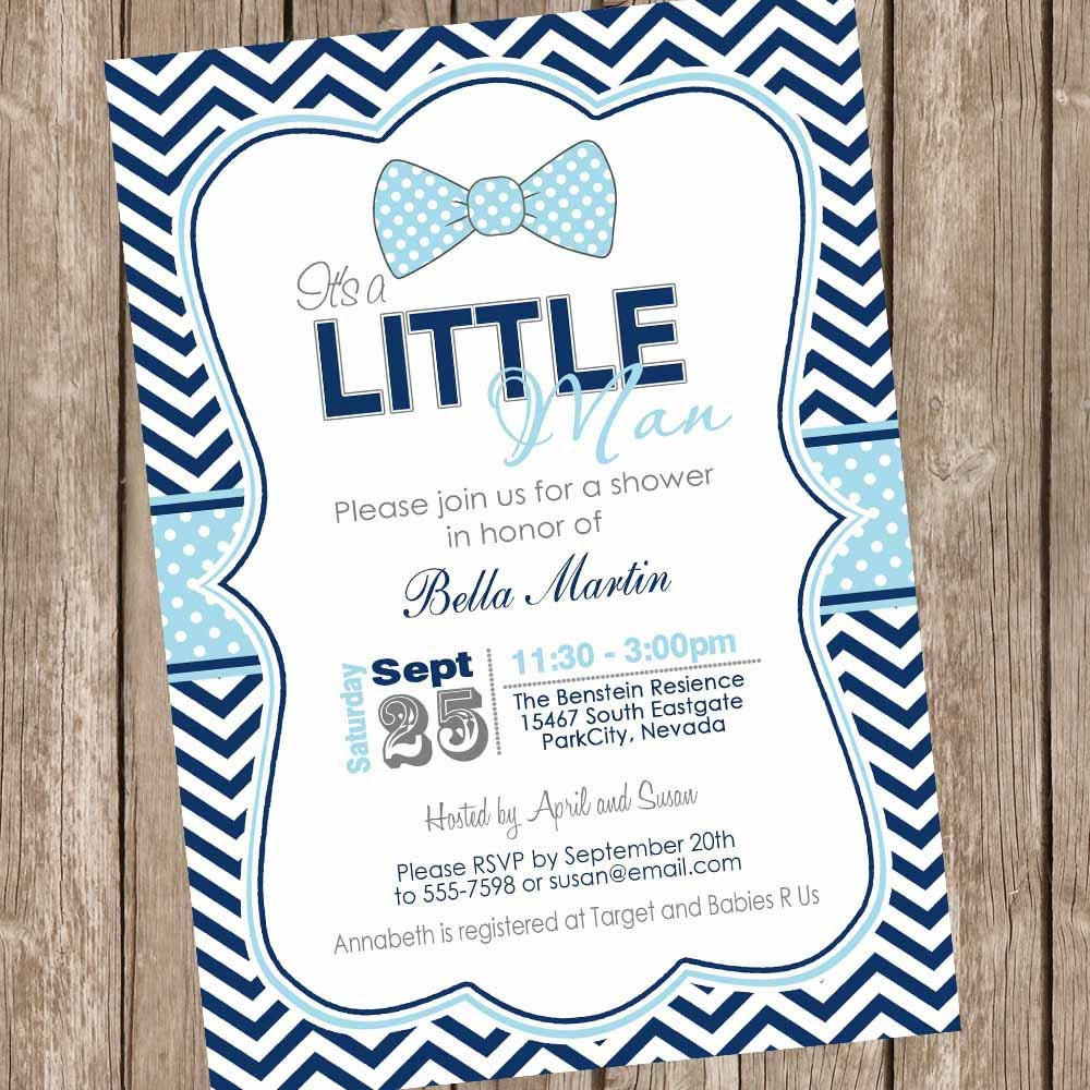 Preppy Bow Tie Baby Shower Invitation Little Man Invitation