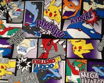 Pocket Monsters printed fabric Pokemon purple base colour half yard
