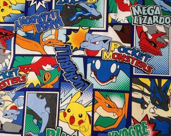 Pocket Monsters printed fabric Pokemon blue colour One yard