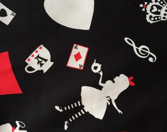 Alice in wonderland fabric gothic style  black color one yard