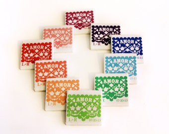 Papel picado wedding favors Day of the Dead, 1 Amor sugar skull tile