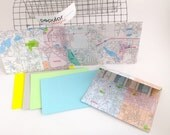 4 Michigan map envelopes with note cards / recycled Map / repurposed map / upcycled map