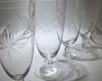 6 cut Crystal Water Glasses