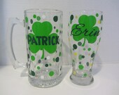 St. Patrick's Day - Beer stein and pilsner set of 2 - personalized