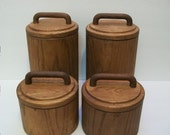 Vintage Canisters, Cornwall 1970s Wood Veneer Plastic Lined Canisters, Set of 4 Canister, Humidity Controlled Lids, Vintage Containers