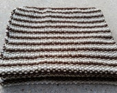 """Scarf - Handknit Striped Moss/Seed Stitch ~ """"Milk in my Coffee"""" ~ Dark Brown, Tan and Cream ~ Extra Wide, Extra Long Heavy Winter Scarf"""