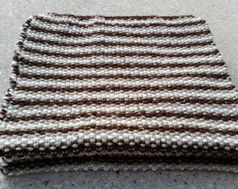"Scarf - Handknit Striped Moss/Seed Stitch ~ ""Milk in my Coffee"" ~ Dark Brown, Tan and Cream ~ Extra Wide, Extra Long Heavy Winter Scarf"